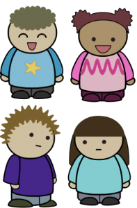 Cartoon of young kids