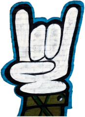 "Graffiti image showing ""Horns of Rock"" hand gesture (first and pinky fingers raised)"