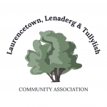 "LLTCA logo - a tree surrounded by text: ""Laurencetown, Lenaderg & Tullylish Community Association"""