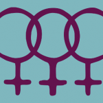Three female symbols in purple on a light teal background